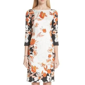 "St. John ""Collection Floral Stretch Silk Dress"""